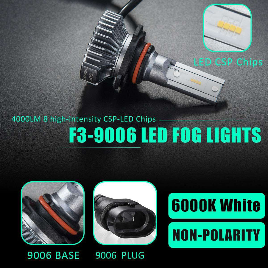 SEALIGHT 9006/HB4 LED Fog Lights Bulbs DOT Approved Cool Xenon White 4000 Lumen 6000K Upgrade Extremely Bright Nonpolarity (Pack of 2)