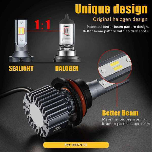 SEALIGHT S1 Series 9004 led headlight Bulbs - No Fan No Noise - 6000K White
