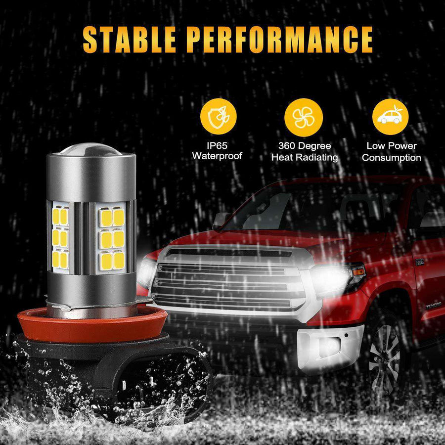 SEALIGHT H11/H8/H16 LED Fog Lights Bulbs DOT Approved, Cool Xenon White 6000K, Upgrade (Pack of 2)
