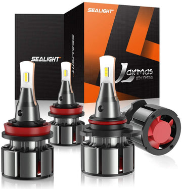 SEALIGHT 9005/HB3 High Beam H11/H9 Low Beam LED Headlight Bulbs Combo Package, 16000LM 6000K Xenon White CSP Chips, All-in-One Lighting Conversion Kit L2 Series, 4 Bulbs