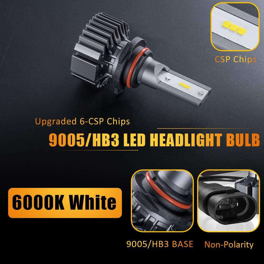 SEALIGHT S1 Series 9006/hb4 led headlight Bulbs - No Fan No Noise - 6000K White