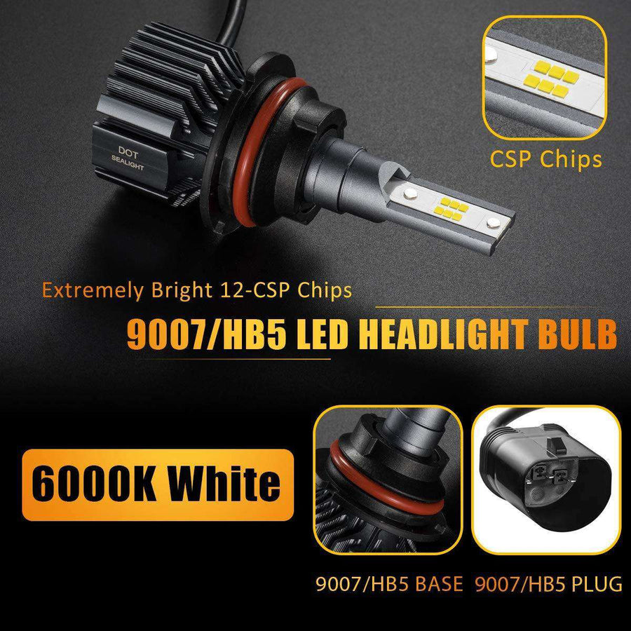 SEALIGHT S1 Series 9007/hb5 led headlight Bulbs - No Fan No Noise - 6000K White