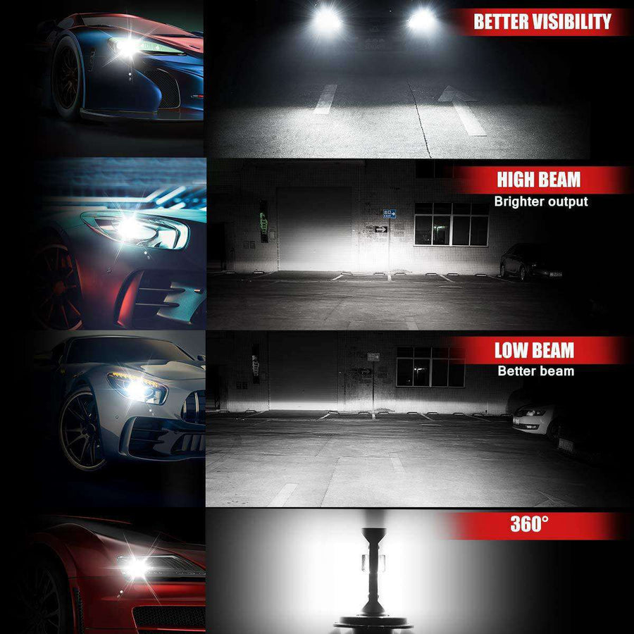 SEALIGHT X1 Series 9006/HB4 led headlight Bulbs - Brighter - 6000K White