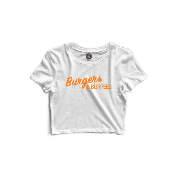 "Crop top ""Burgers & Burpees"" - Coton Bio & Made In France"