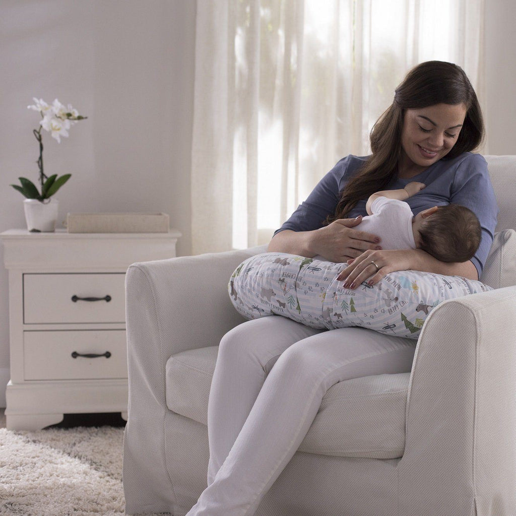 Mom breastfeeding using Boppy pillow