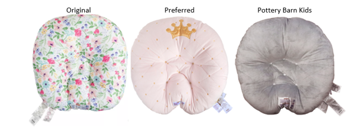 Original (floral), Preferred (pink with crown), and Pottery Barn Kids (gray) Newborn Loungers
