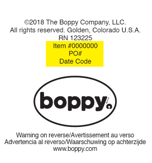 Care label depicting location of Item Number above Boppy logo