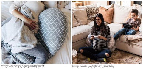 Woman using pregnancy support pillow