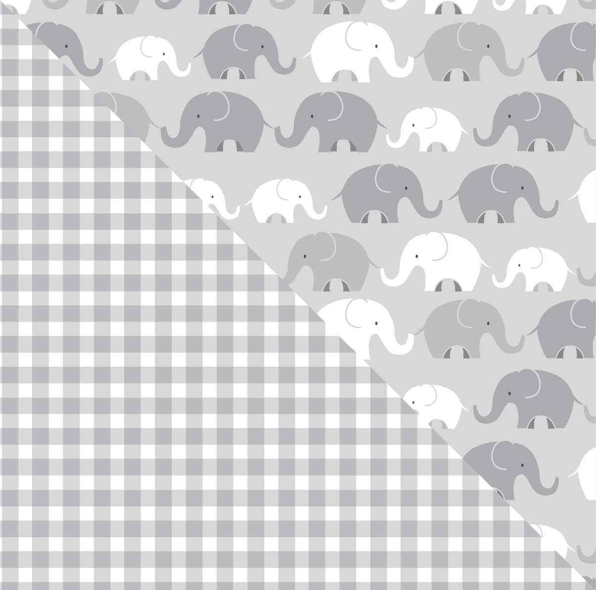 Gray Elephants Plaid