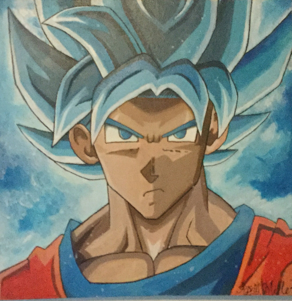 20x20 Super sayian blue Goku painting Original artwork by Rory Miller