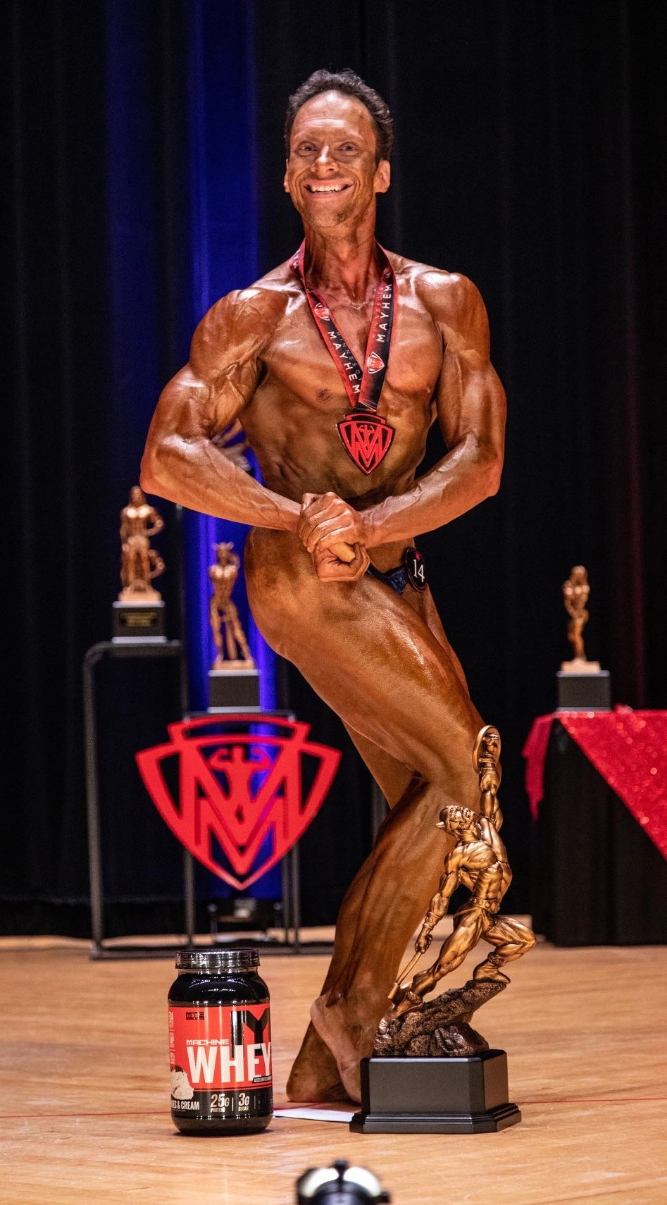 Bodybuilding competition muscled man