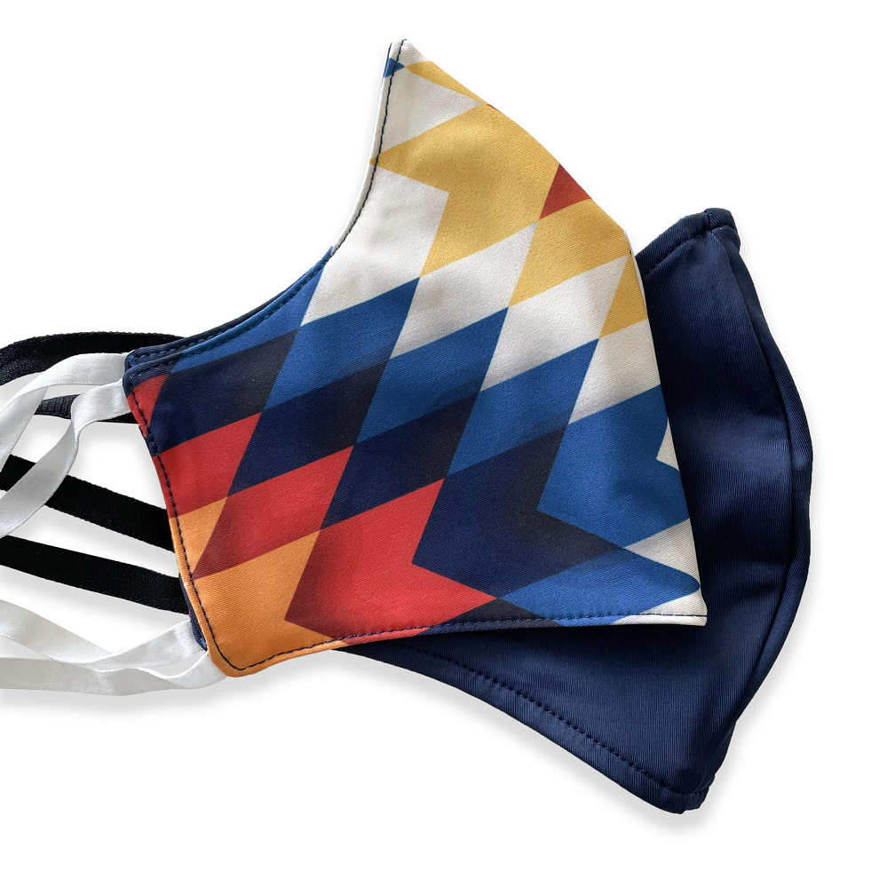 geometric shapes reversible face mask with navy blue