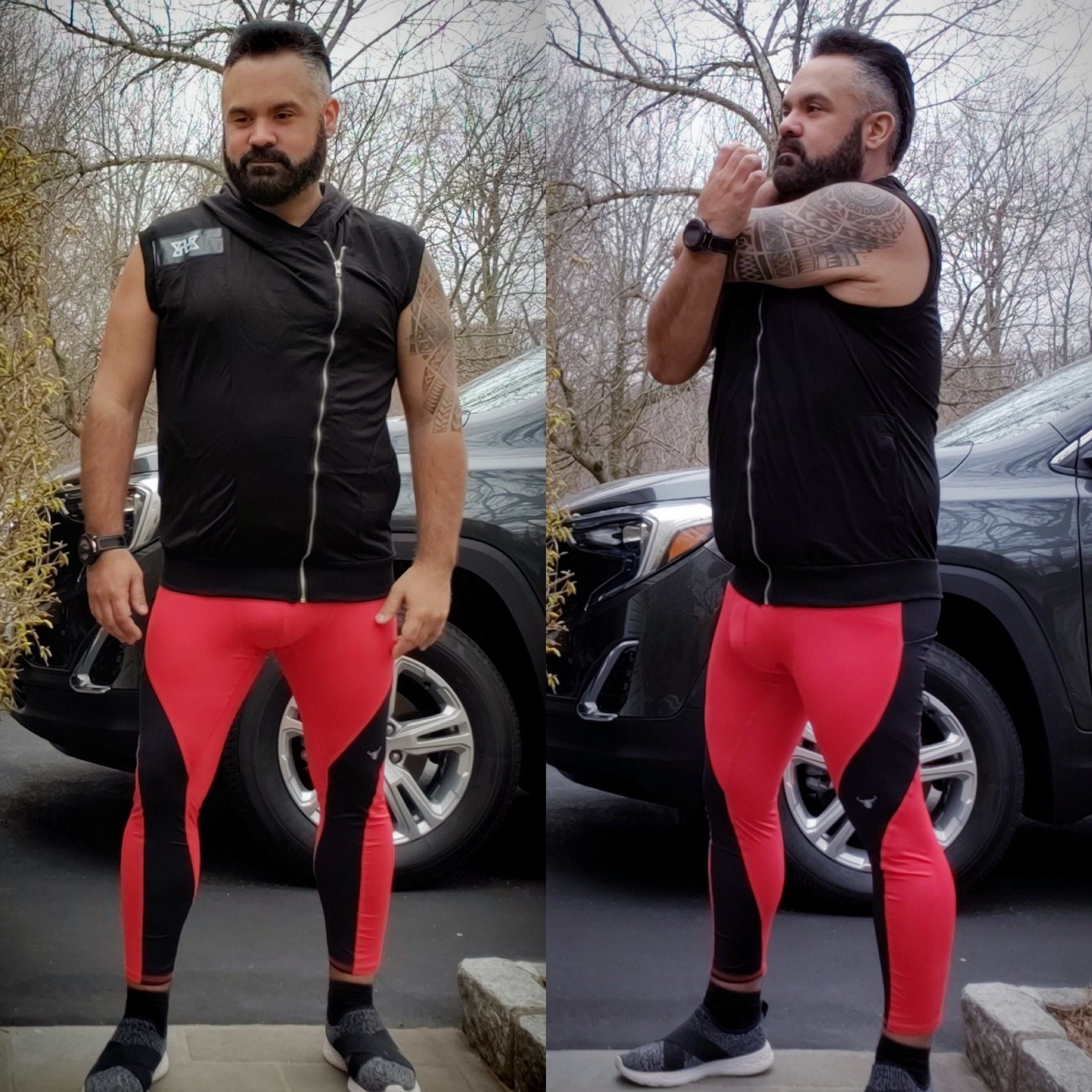 Man with beard stretching in Meggings