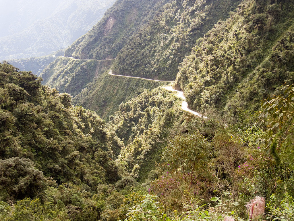 Panoramic view of the Death Road in Bolivia