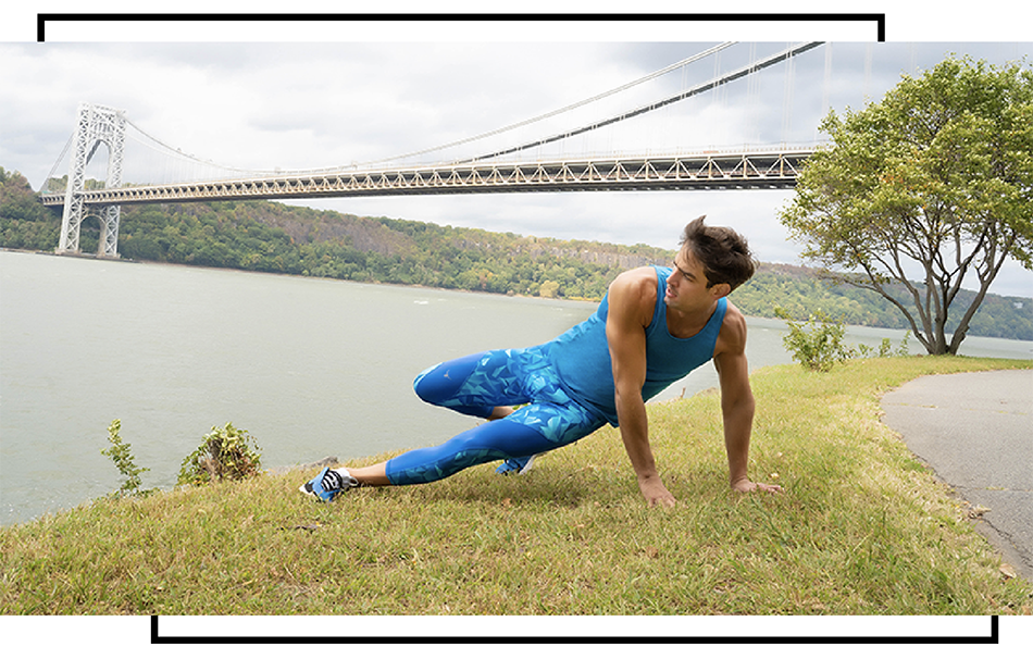 Man stretching in meggings with bridge and river in background