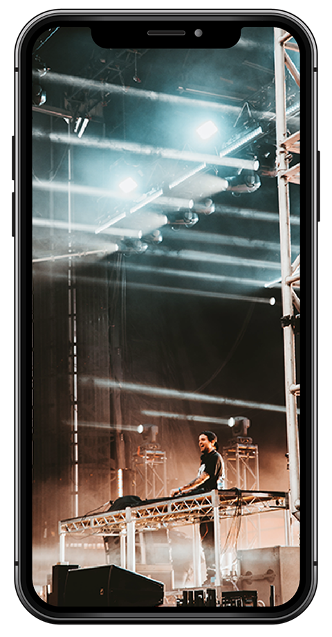 virtual concert on phone screen