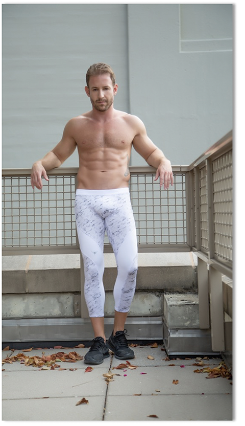 man lunging in Meggings