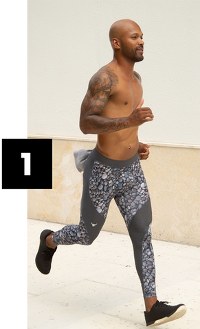muscular man running in grey printed meggings