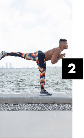 male yoga model wearing comfortable performance leggings