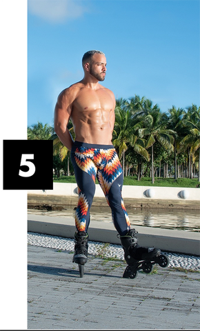 muscular male model rollerblading in geometric leggings