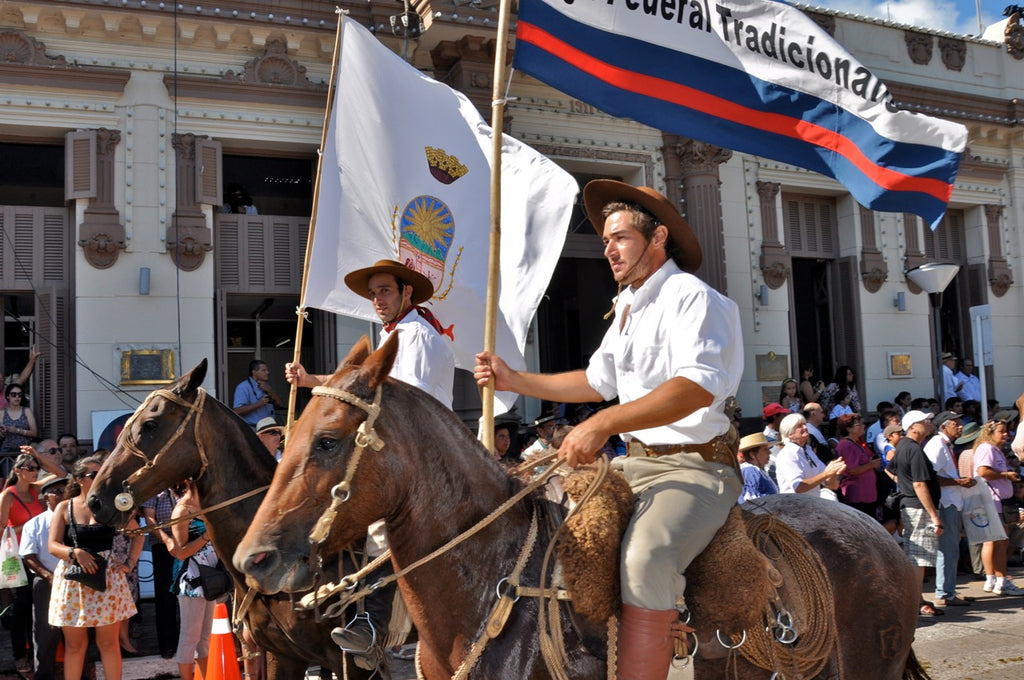 Horseback riders in a parade route