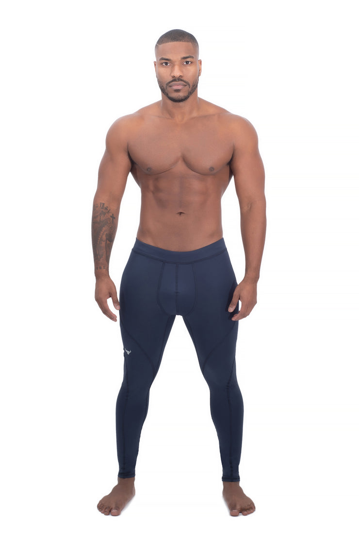 navy blue plain compression leggings for men