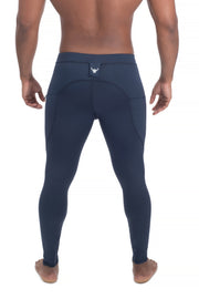 back of solid navy blue men's leggings