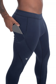 solid navy blue men's leggings with pocket