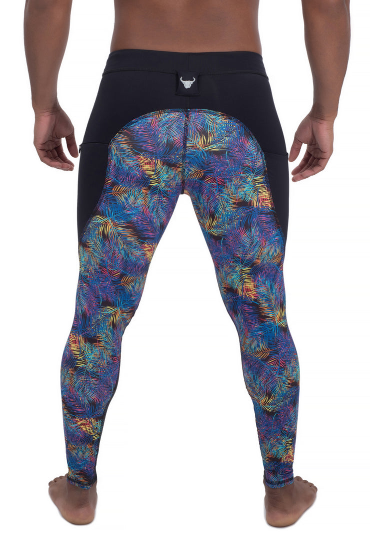 back of men's neon leaves compression workout pants