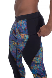 men's neon leaves compression pants with secure zip pocket