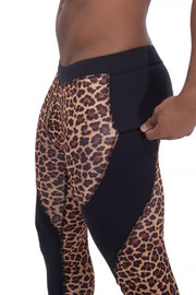 leopard printed compression leggings for men with secure zip pocket