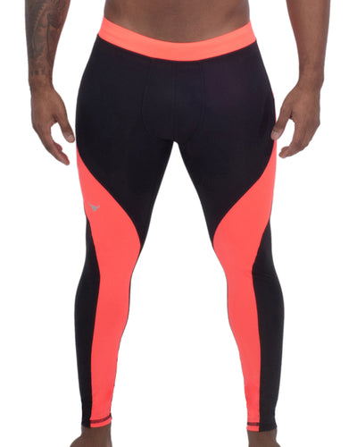 black and coral two-color men's compression leggings