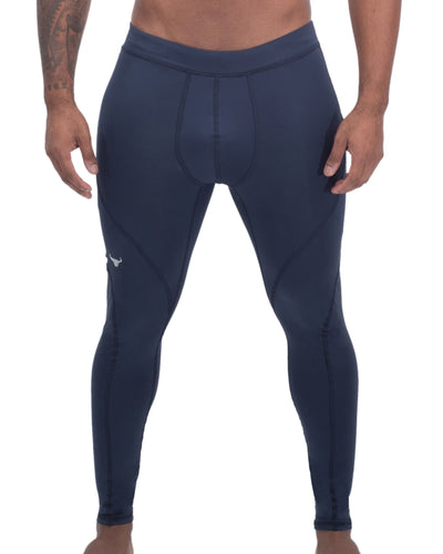 navy blue solid color men's compression leggings