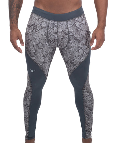 gray snake skin full-length men's compression tights