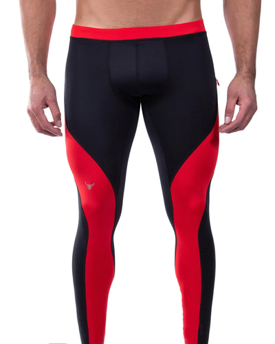 black and red dual color men's leggings