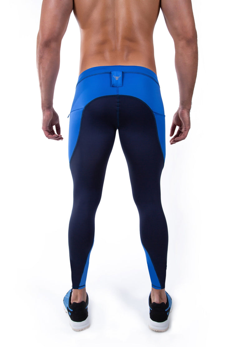 back side of navy blue meggings