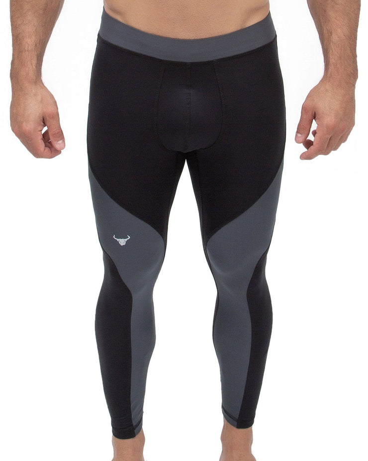 black and gray full-length men's compression leggings