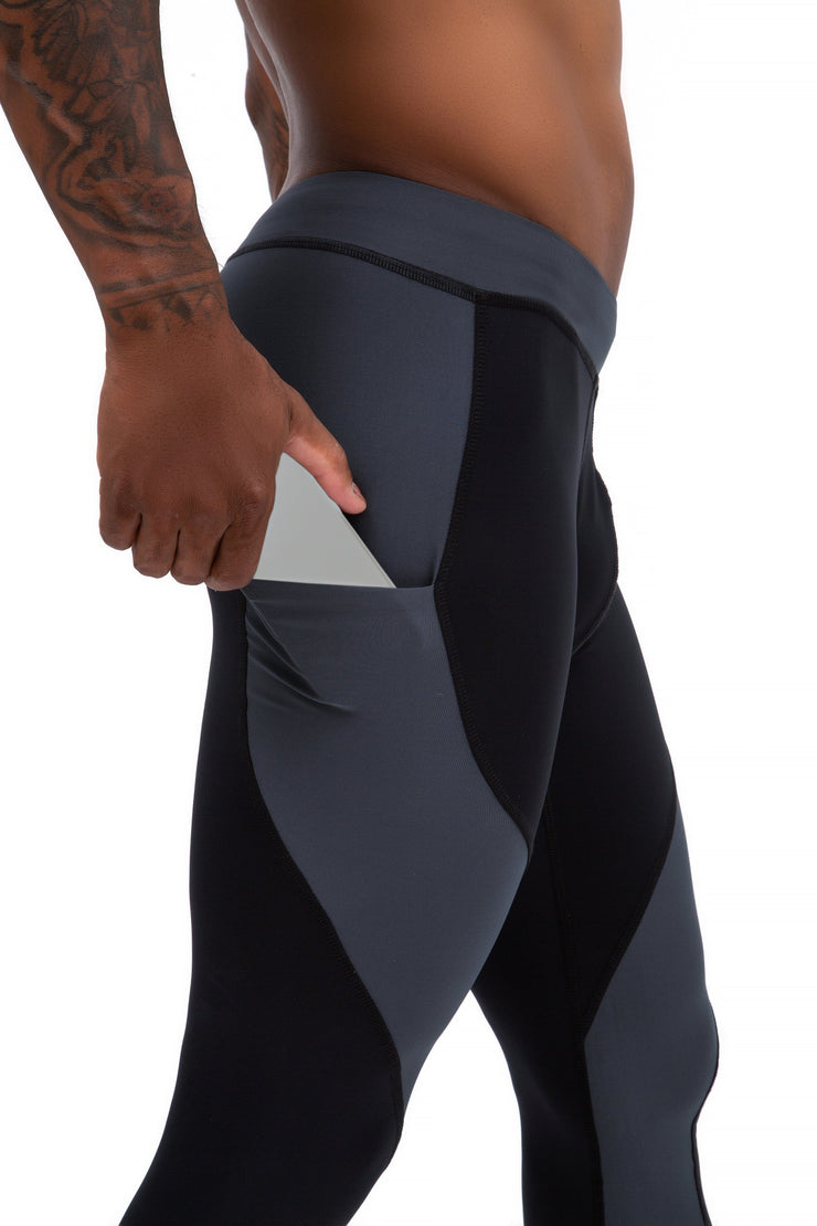 black and gray full-length men's tights with pockets