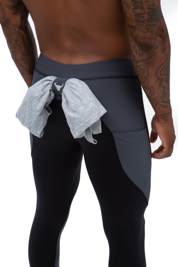black and gray full-length men's tights with t-shirt loop