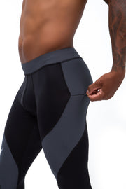 black and gray meggings with zip pockets