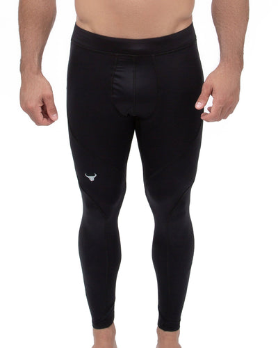 black solid color men's compression leggings