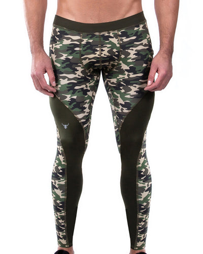 green camo men's compression leggings