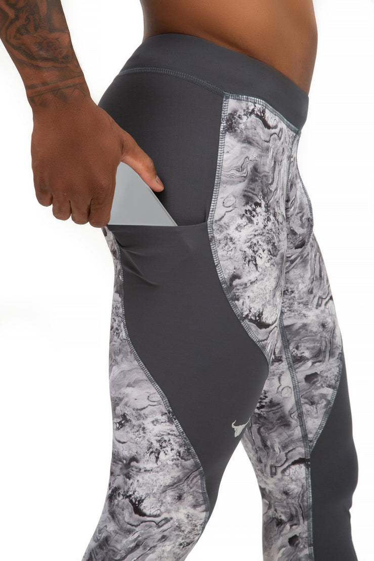 gray oyster men's performance leggings with pockets