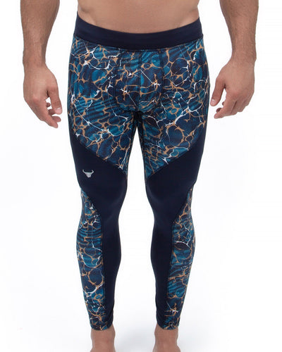 blue granite men's compression leggings