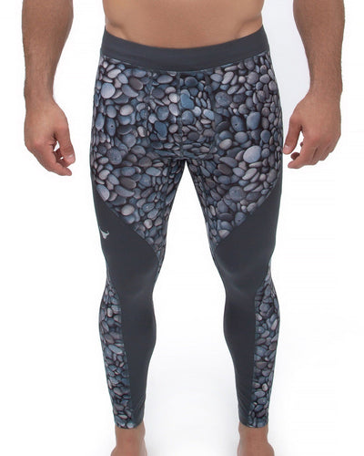 men's gray pebble compression leggings