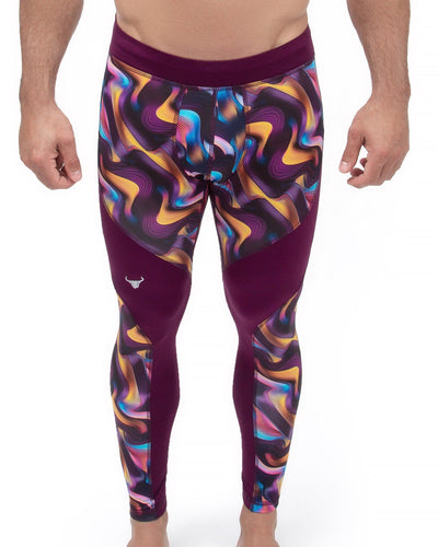 psychedelic men's work out performance leggings