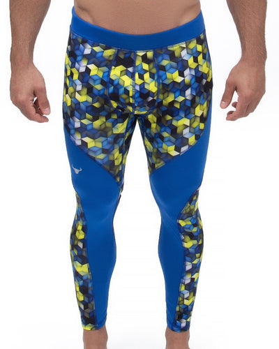 blue geometric cube meggings
