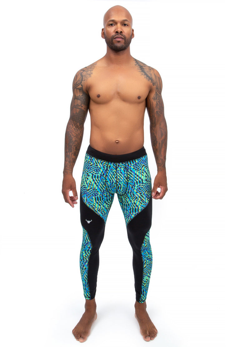 male model wearing labyrinth compression pants for workouts