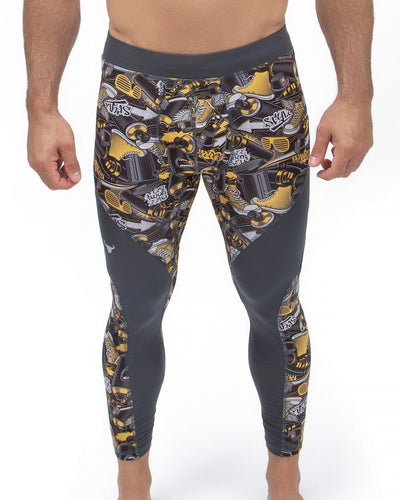 men's gray graffiti full-length meggings