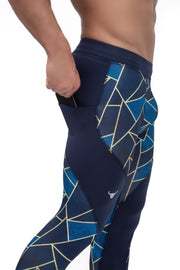 meggings with blue geometric triangles and pockets